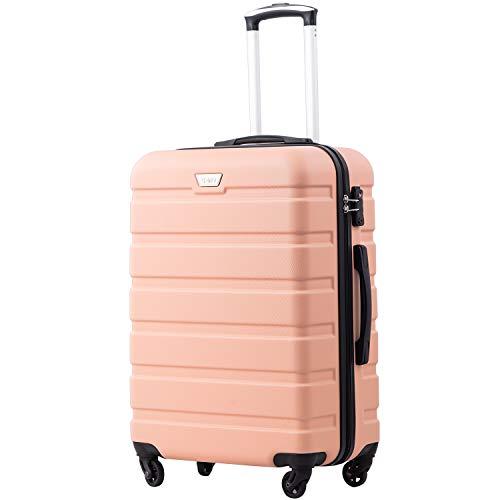 COOLIFE Hartschalen-Koffer Trolley Rollkoffer Reisekoffer mit TSA-Schloss und 4 Rollen Kirschblüte Pulver, Großer Koffer