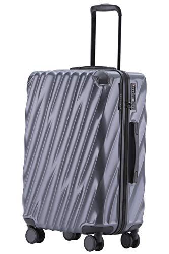 MÜNICASE TSA Schloß Handgepäck Trolley Koffer-Set Reisekoffer Businessgrau, XL-76cm