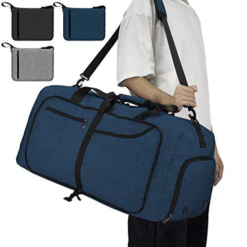 NEWHEY Reisetasche Groß 65L Faltbare Reisetaschen Leichte Sporttasche für männer mit Schuhfach für Weekender Herren Damen Duffel Taschen Blau