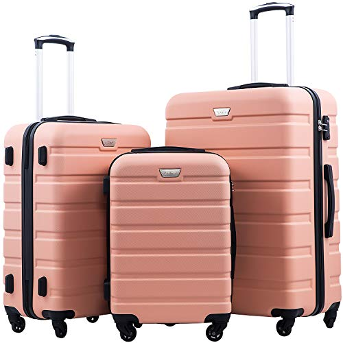 COOLIFE Hartschalen-Koffer Trolley Rollkoffer Reisekoffer mit TSA-Schloss und 4 Rollen Kirschblüte Pulver, Koffer-Set