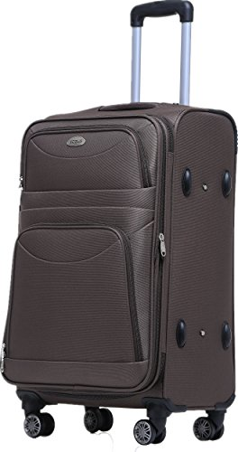 BEIBYE 8009 TSA Schloß Stoff Trolley Reisekoffer Koffer Kofferset Gepäckset Braun, XL