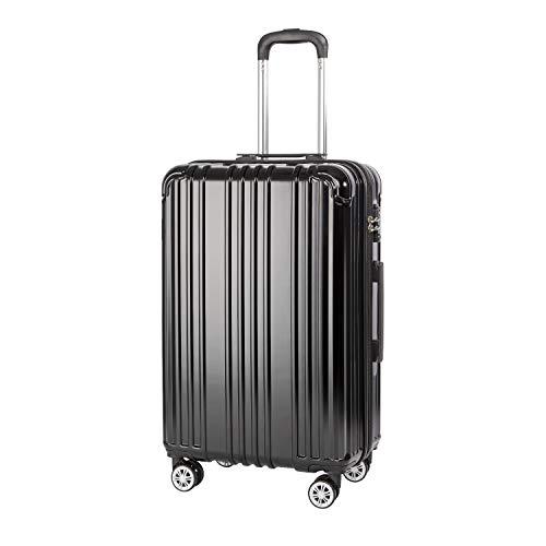 COOLIFE Hartschalen-Koffer Rollkoffer Reisekoffer Vergrößerbares Gepäck Nur Großer Koffer Erweiterbar PC+ABS Material mit TSA-Schloss und 4 Rollen Schwarz, Mittelgroßer Koffer
