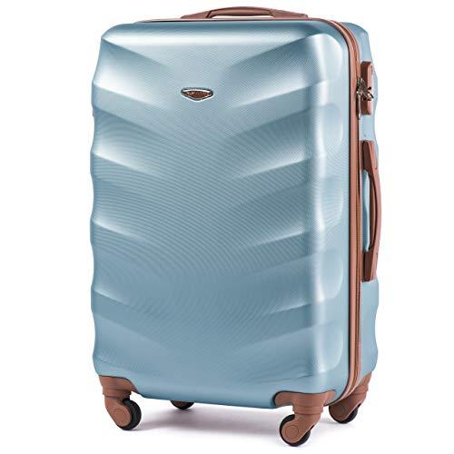 Leichter Flugzeugkoffer – VINCI LUGGAGE Geräumiger Kabinentrolley – Luxuriöser und moderner Koffer mit zweistufigen Teleskopgriff und Kombinationsschloss Silber Blau, L