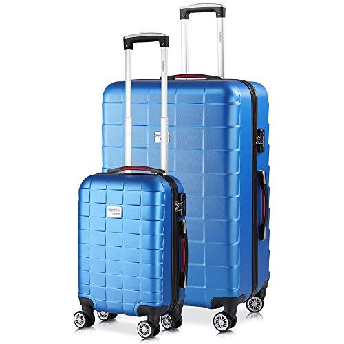 monzana® 2er Set Koffer Boardcase M, XL Gelgriffe TSA Schloss Reisekoffer Trolley Kofferset Handgepäck blau