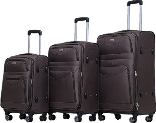 BEIBYE 8009 TSA Schloß Stoff Trolley Reisekoffer Koffer Kofferset Gepäckset Braun, Set