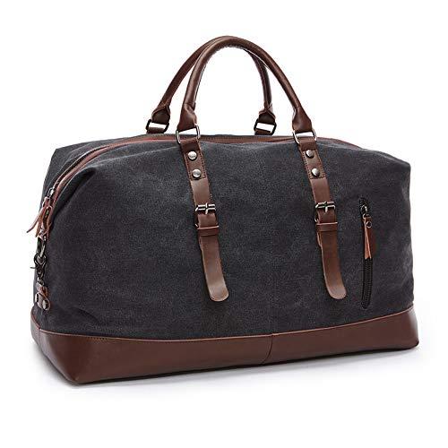 SHS Segeltuch Reisetasche,Vintage Canvas Handgepäck Tasche für Damen Herren,Urlaub Weekender Tasche Travel Bags Reise Duffel Bag mit der Großen Kapazität Schwarz