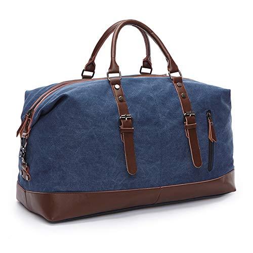 SHS Segeltuch Reisetasche,Vintage Canvas Handgepäck Tasche für Damen Herren,Urlaub Weekender Tasche Travel Bags Reise Duffel Bag mit der Großen Kapazität Blau