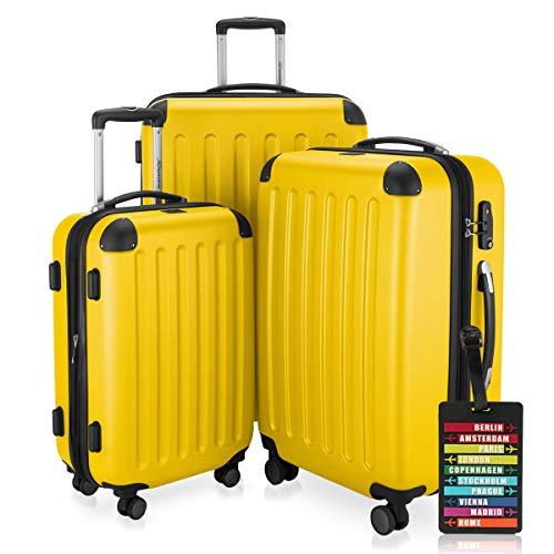 Hauptstadtkoffer – 3er-Koffer-Set Trolley-Set Rollkoffer Reisekoffer-Set Erweiterbar, TSA, 4 Rollen, S, M & L, Gelb inkl. Design Kofferanhänger – Spree