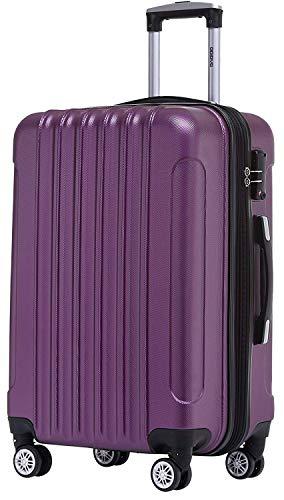 BEIBYE TSA Schloß 2050 Hartschale Trolley Koffer Reisekoffer in M-L-XL-Set Violett, 55cm
