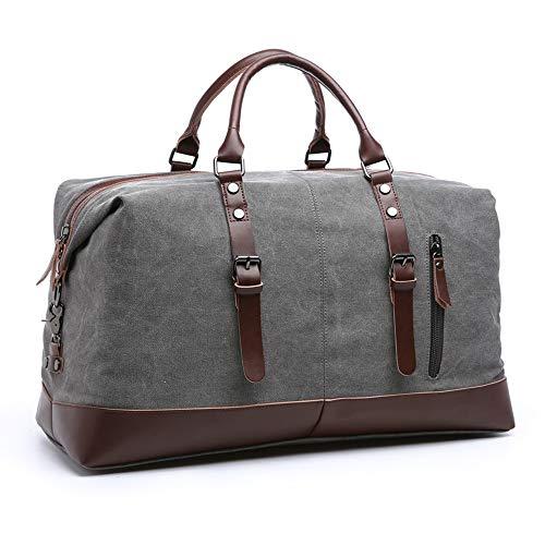 SHS Segeltuch Reisetasche,Vintage Canvas Handgepäck Tasche für Damen Herren,Urlaub Weekender Tasche Travel Bags Reise Duffel Bag mit der Großen Kapazität Grau