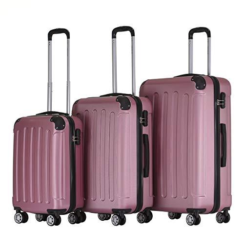 BEIBYE 2045 Zwillingsrollen 3tlg. Reisekoffer Koffer Kofferset Trolleys Hartschale in 14 Farben Pink