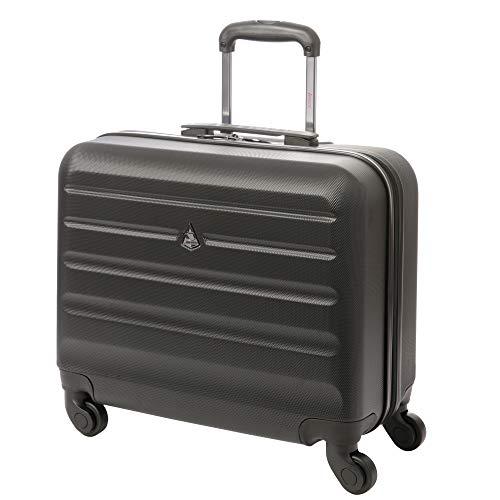 Aerolite Hartschale 4 Rad Trolley Laptoptasche Notebooktasche Rollkoffer 15.6 Zoll Handgepäckkoffer Handgepäck Koffer Laptop Tasche 15,6 Zoll Schwarz