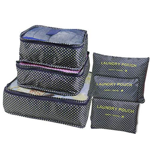 Kleidertaschen Set 6 Teilig Koffertaschen für Reise Packing Cubes Kofferorganizer Packtaschen Set Packwürfel für Rucksäcke Koffer Reisegepäck Handgepäck Backpack mit Kulturbeutel Wasserdicht Sternblau