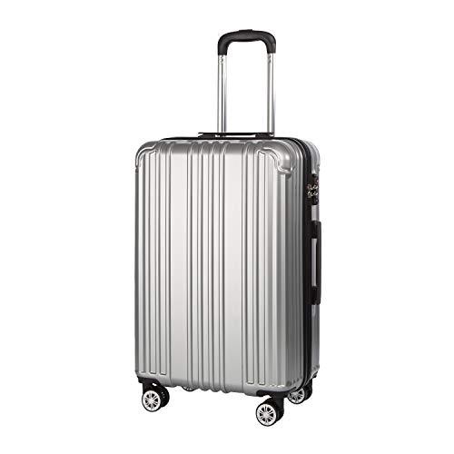 COOLIFE Hartschalen-Koffer Rollkoffer Reisekoffer Vergrößerbares Gepäck Nur Großer Koffer Erweiterbar PC+ABS Material mit TSA-Schloss und 4 Rollen Silber, Großer Koffer