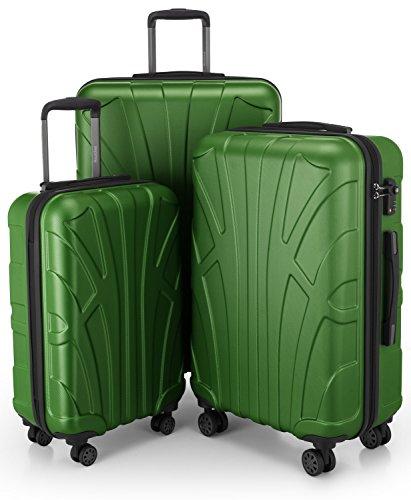 Suitline 3er Koffer-Set Trolley-Set Rollkoffer Hartschalen-Koffer Reisekoffer, TSA, 55 cm, 66 cm, 76 cm, 100% ABS, Matt, Grün