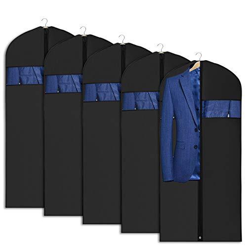 Univivi Kleidersack Anzugstasche für Aufbewahrung und Reisen 43 Zoll Antimottenschutz Waschbarer Anzugsbezug für T-Shirt, Jacke, Anzüge, Mäntel 5er Set