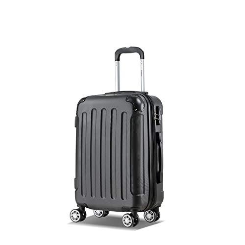 Flexot 2045 Handgepäck Koffer Bordcase – Farbe Schwarz Größe M Hartschalen-Koffer Trolley Rollkoffer Reisekoffer Handgepäck 4 Rollen