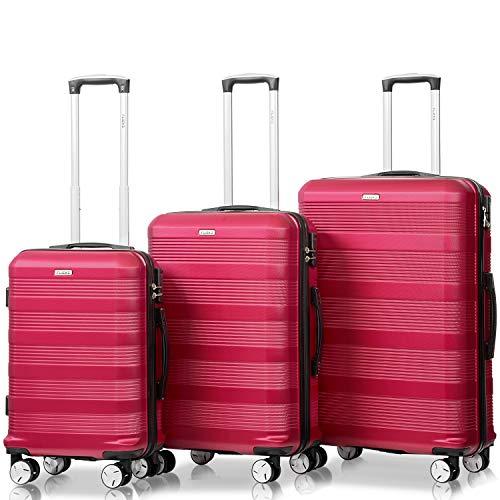 Flieks Reisekoffer Kofferset Hartschale 4 Zwillingsrollen Trolleys Gepäck Koffer 3tlg. Weinrot, Set