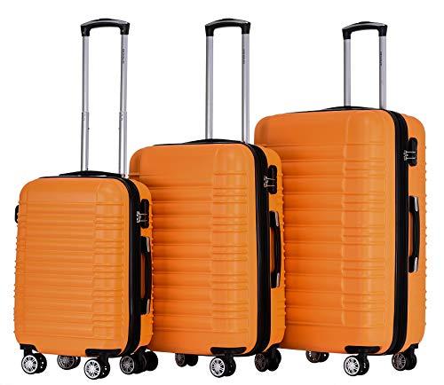 BEIBYE 2088 Zwillingsrollen Reisekoffer Koffer Trolleys Hartschale M-L-XL-Set in 13 Farben Orangen, Set