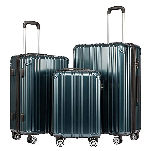 COOLIFE Hartschalen-Koffer Rollkoffer Reisekoffer Vergrößerbares Gepäck Nur Großer Koffer Erweiterbar PC+ABS Material mit TSA-Schloss und 4 Rollen Blaugrün, Koffer-Set