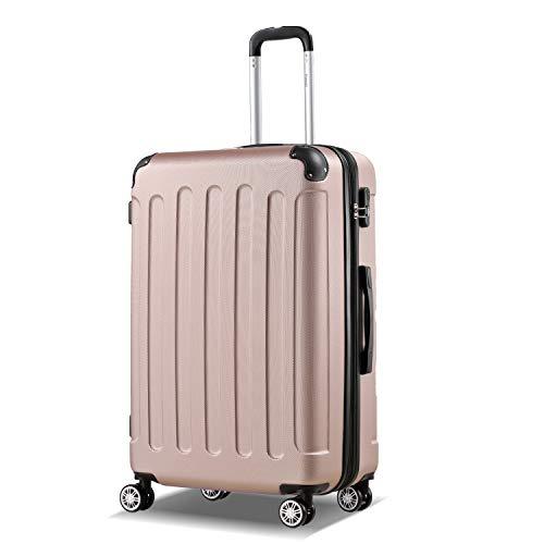 Flexot 2045 Koffer – Farbe Rosegold Größe XL Hartschalen-Koffer Trolley Rollkoffer Reisekoffer 4 Rollen