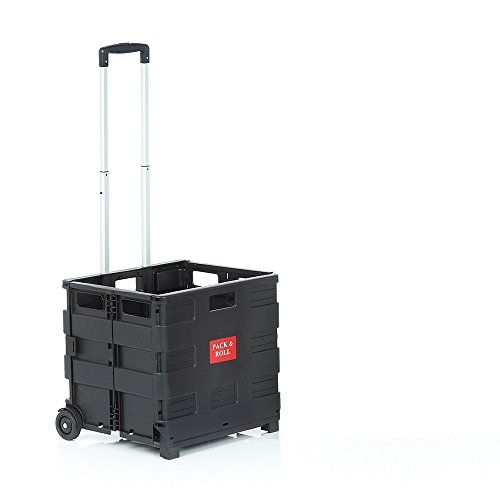 Black – Seco Square Handle Extra Large Foldable Plastic Crate Trolley