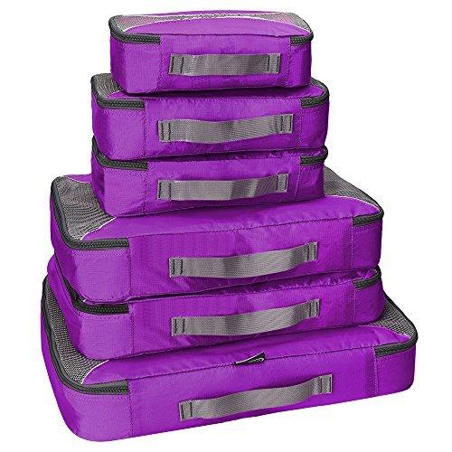 G4Free Packing Cubes 6-teiliges Set Reisezubehör Organizer Vielseitige Reisetaschen, Unisex-Erwachsene, violett, 6pcs