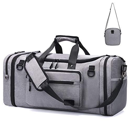 Männer & Frauen Fitnesstasche für Sport Gym 46L – Sporttasche Damen Reisetasche mit Schuhfach und Weekender Herren Reisetaschen mit abnehmbarer Umhängetasche/Wasserdicht Handgepäck Flugzeug für Reisen