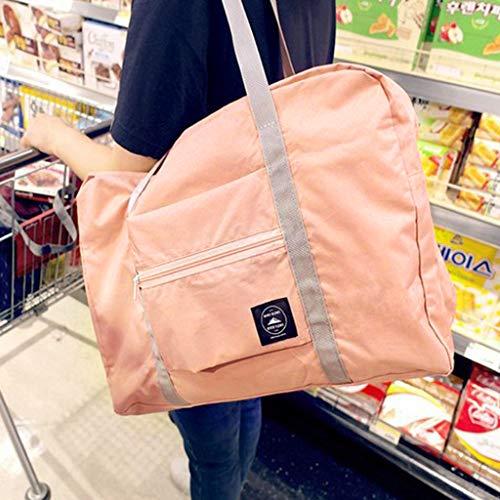 Anliyou Wasserdicht Reisetasche Faltbar Sportasche Damen Herren Kabinenreisetasche Gepäcktasche mit großer Kapazität Super Leicht Handgepäck Urlaub Flug 34cm*48cm*16cm, Nylon Rosa