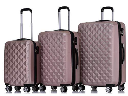 BEIBYE Trolley Koffer Reisekoffer Reisekofferset Gepäckset Kofferset 4 Zwillingsrollen Hartschale Rosa Gold