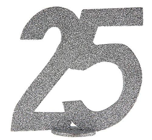 Top 8 Zahl 25 Silberhochzeit – Tischdekoration